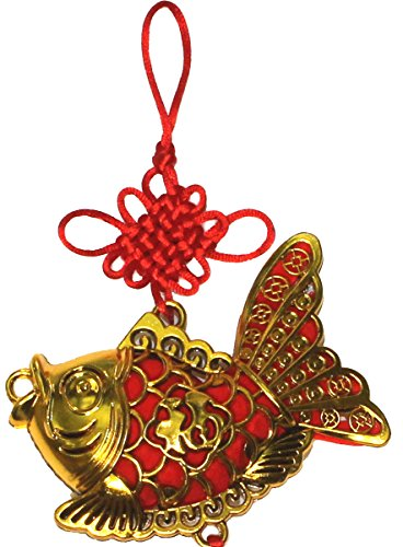 Lucore 4 Inch Chinese Lucky Golden Fish Charm Hanging Ornament - Feng Shui Home Decor Decoration Accent