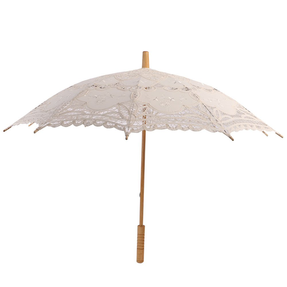 Sunshay Beautiful Ivory Lace Cotton Embroidery Wedding Umbrella Sun Parasol Bridal Accessory
