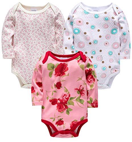 - kavkas Baby Girl Onesies 3-Pack Full Sleeve Bodysuit (Pink, 0/3M)