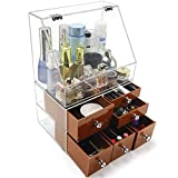 Extra Large Clear Makeup Organizer With Acrylic Box Dustproof Lid and 6 Color Drawer Different Size for Cosmetic,Makeups,Big Storage for Countertop and Bathroom - Brownish Red