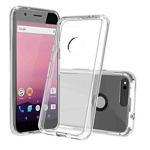 Price comparison product image Google Pixel Clear Case,AnoKe [Scratch Resistant] Acrylic Hard Cover With Rubber TPU Bumper Hybrid Ultra Slim Fit Protective for Google Pixel- TM Clear