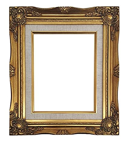 4d849a23e1f Ornate Baroque Gold Painted Wooden Frame with Cream Linen Liner Shabby Chic  Picture Frame (8x10