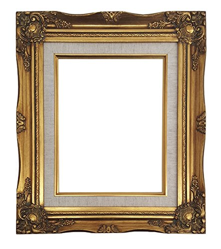 (Ornate Baroque Gold Painted Wooden Frame with Cream Linen Liner Shabby Chic Picture Frame (8x10 w/)