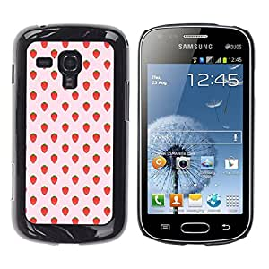 Patrón Strawberry Summer Wallpaper - Metal de aluminio y de plástico duro Caja del teléfono - Negro - Samsung Galaxy S Duos S7562