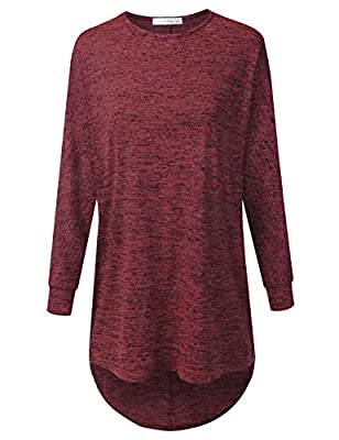 JJ Perfection Women's Marled 3/4 Sleeve High Low Oversized Crewneck Sweater