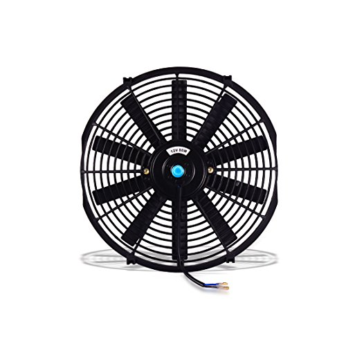 (QIKE Universal High Performance 12V Slim Electric Cooling Radiator Fan With Fan Mounting Kit(12INCH,BLACK)))