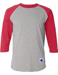 Champion Raglan Baseball T-Shirt, Oxford Grey/Scarlet, Size-M