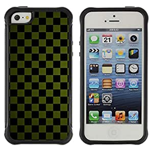Pulsar Defender Series Tpu silicona Carcasa Funda Case para Apple iPhone 5 / iPhone 5S , Texture Checkered Green