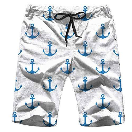 Anchor Flat Design Men's Swim Trunks Beach Short Board Shorts S (Best Nautical Chart App)