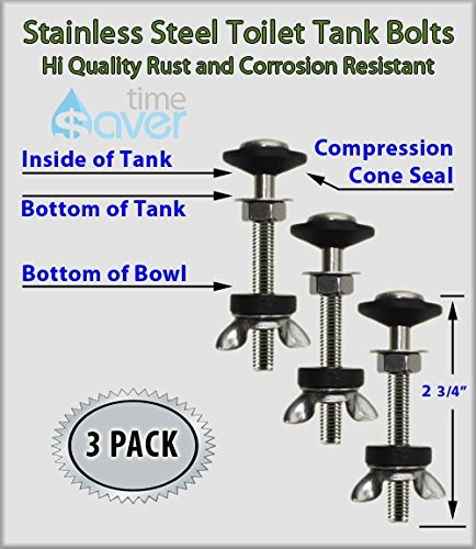 FlushSaver STAINLESS STEEL 3 PACK Toilet Bolts and Seal Set. Slotted Head Bolts are 2 3/4'' x 5/16'' (M70x8) each with cone seal, dual washer sets, tank nut and wingnut. WILL NOT LEAK or CORRODE