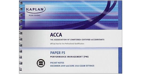 F5 Performance Management PM Paper F5 Pocket Notes Kaplan