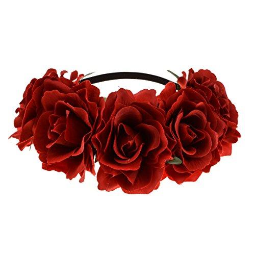 June Bloomy Rose Floral Crown Garland Flower Headband Headpiece for Wedding Festival (Dark Red)