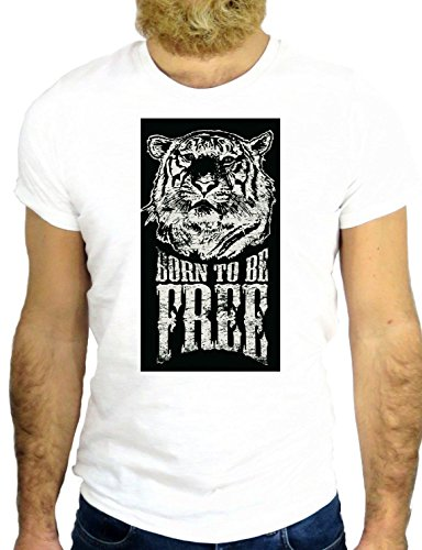 T SHIRT JODE Z2046 BORN TO BE FREE WILD TIGER FUNNY COOL FASHION NICE GGG24 BIANCA - WHITE L