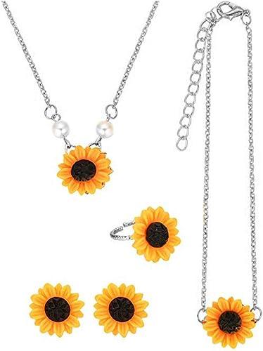 Elegant Sunflower Necklace Pendant Earring Women Imitation Pearls Chain Jewelry