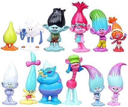 12pcs Trolls Toys Mini Trolls Action Figures Trolls Cake Tall 1.18-2.76 3-6cm Cake Toppers