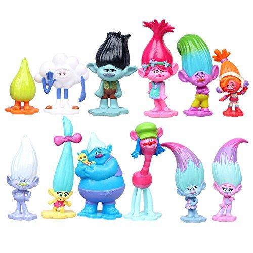 12 PCS Trolls Biggie Poppy Prince Gristle Action Figure Doll Cake Topper Toy