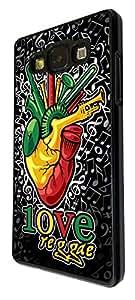 1098 - cool fun reggae heart beat music rasta jamaican weed high love Design For Samsung Galaxy A5 Fashion Trend CASE Back COVER Plastic&Thin Metal - Black