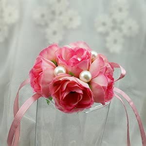 FAYBOX Girl Bridesmaid Wedding Wrist Corsage Party Prom Hand Flower Decor 2