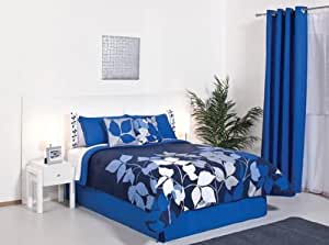 Blue Silver White Comforter Bedding Set King 6 Pcs