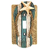 nautical wall covers - Beach Sandal Flip Flop Starfish Tan Blue White Switch Plate Cover