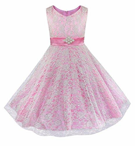 iiniim Kids Girls Floral Lace Pageant Party Wedding Ball Gowns Flower Girl Dress Pink 12 -