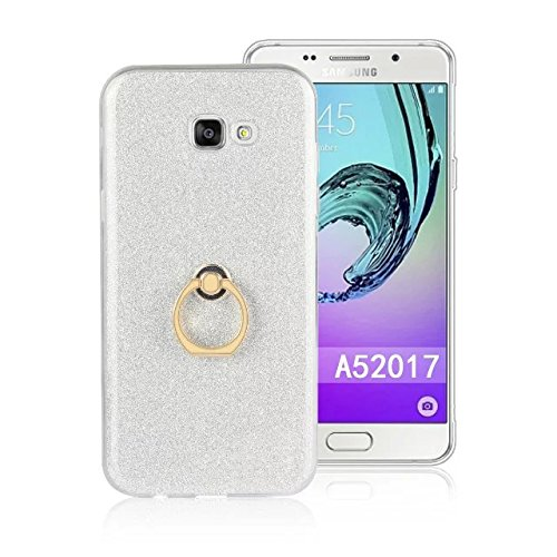 Luxus Bling Sparkle Style Case, Soft TPU [Silikon] Flexible Glitter Back Cover mit Fingerring Stand [Anti Scratch] [Shockproof] für Samsung Galaxy A5 2017 ( Color : White ) White