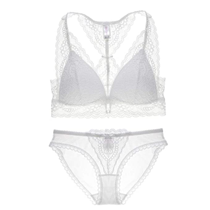00d0dfae8c Women s Sexy Padded Underwire Eyelash Lace Bras Set Bra and Panty Set  Lingerie(White-