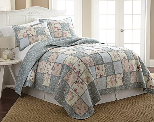 Chezmoi Collection 2-Piece Garden Floral Vintage Washed 100%-Cotton Reversible Patchwork Quilt Set (Twin) - Garden Quilt Set