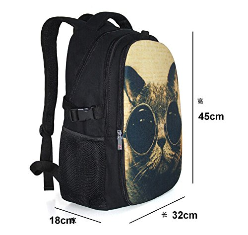 """Colorfulbags® NEW HOT Selling Fashion PUG DOG 32 ounce cotton (boy & girl) Comfortable Rucksack Bookbag Satchel Shoulder Cover Outdoor School Traveling Gym Bag Office Casual Canvas Backpack Bag Washable Case Protector ,holds laptops 12"""" 13"""" 14"""" 15"""" up to 15.6 inches in size , great for traveling , office and school (The Front part is removable)"""