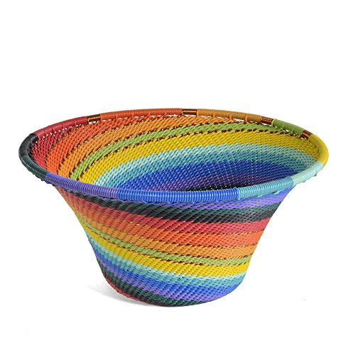 Fair Trade Zulu Telephone Wire Small Cone Basket, African Spirit