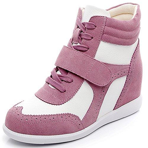 Donna Lacci Zeppa Scarpe in Fibbia amp;bianco Informale Cima Sneaker Cuneo Lavoro rismart Rosa ACqdwq