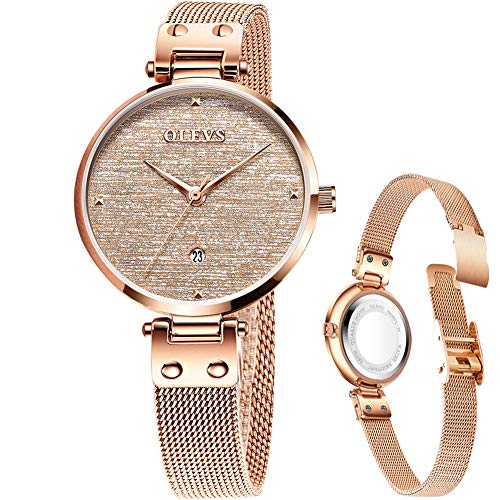 Gold Watches for Women with Small Wrists,Woman Watches on Sale Clearance Rose Gold Ladies Analog Thin Watches,Stainless Mesh Simple Wrist Watch Small Face,Ladies Waterproof Minimalist Watch with Date ()