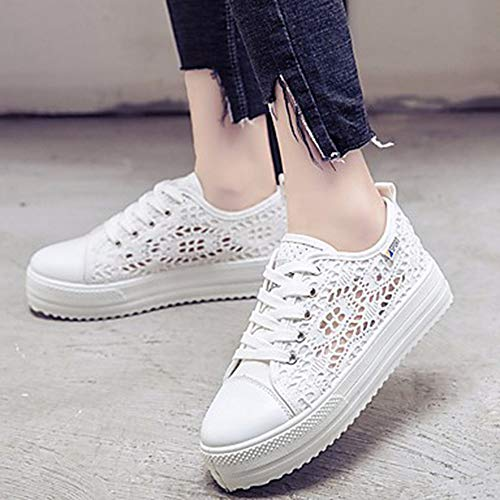 Di EU36 Primavera Pizzo Piatto Bianco Comoda TTSHOES US6 Sneakers Donna Autunno UK4 Per White Nero CN36 Scarpe CUWH6Htq