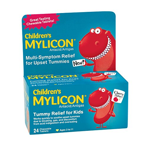 Mylicon Children's Antacid, Tummy Relief Tablets for Kids, Cherry, 24 - Chewable Children Tablets