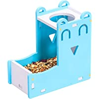 Free Standing Hamster Water Bottle,Gerbil Water Bottle Hut Hanging Small Animal Food Dispenser Holder Little Pet Automatic Drinking Bottle with Food Container Base