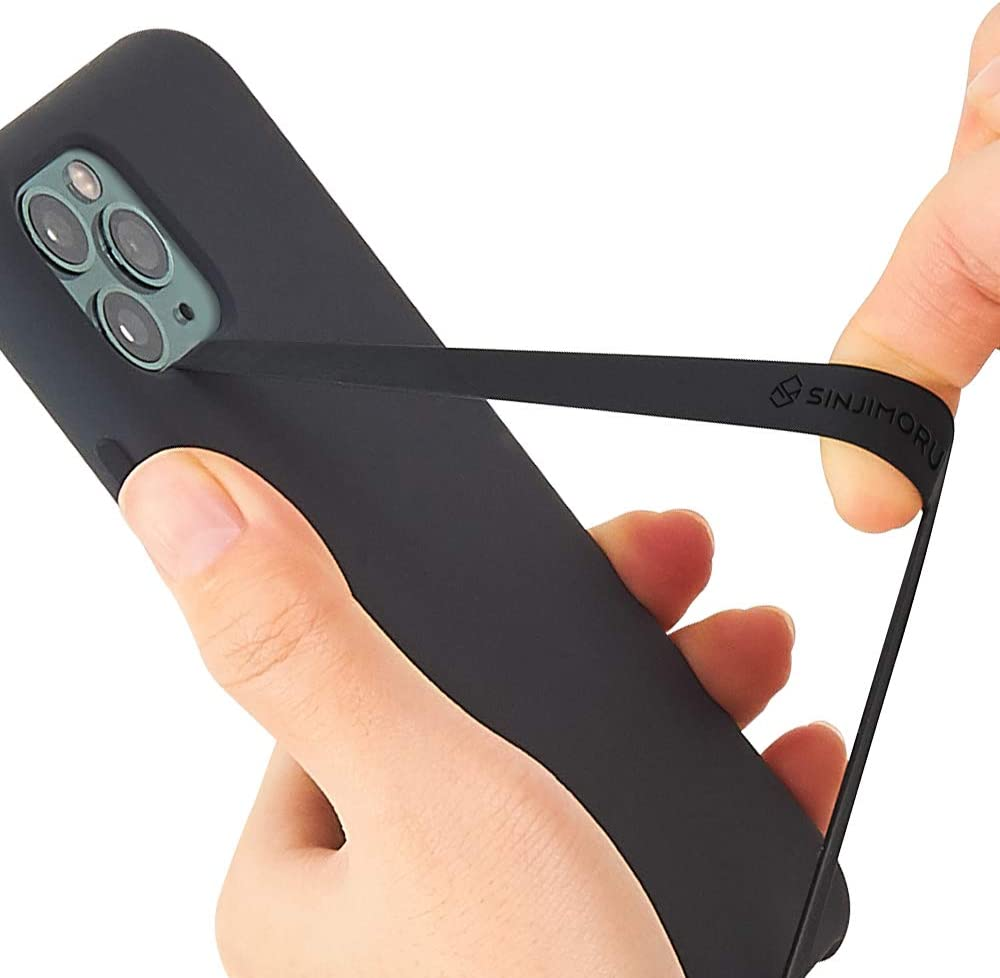 Sinjimoru Silicone Stretching Strap as Phone Grip Holder, Slim Grip Tape for iPhone Case, Secure Phone Strap as Cell Phone Holder. Sinji Loop, Black