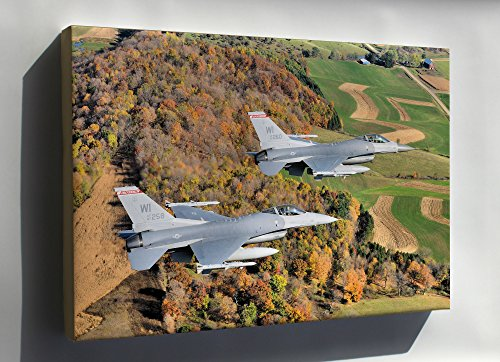 115th Fighter Wing (Canvas 16x24; F-16 Fighting Falcon From The 115Th Fighter Wing, Wisconsin Air National Guard)