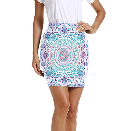 GULTMEE Women's Pencil Skirt,Medallion Design Floral Patterns and Leaves Boho Hippie Style Prints M
