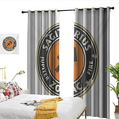 Jacquard Logo Beige - Wen Zhouqw Zodiac Sagittarius Zodiac Themed Logo Design Jupiter and Fire Grunge Image Dark Taupe Beige Orange Jacquard Curtain