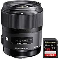 Sigma Art Wide-angle lens - 35 mm - F/1.4 DG HSM- for Sony (340205) + Sandisk Extreme PRO SDXC 128GB UHS-1 Memory Card