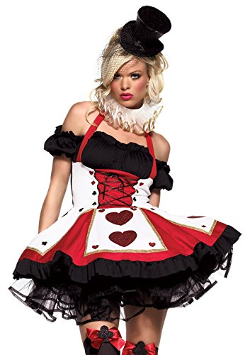 Alice Queen Of Hearts Costumes (Leg Avenue Women's 2 Piece Pretty Playing Card Costume Includes Dress And Neck Piece, Red/Black, Small/Medium)