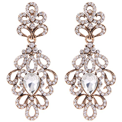- BriLove Women's Wedding Bridal Dangle Earrings Vintage Style Floral Hollow Crystal Teardrop Chandelier Earrings Clear Antique-Gold-Toned