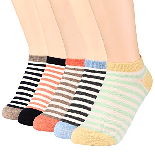 FAYBOX 5 Pack Women Low Cut Ankle Socks No Show Running Sport (Stripe 5 pairs) (Low Ankle Socks)