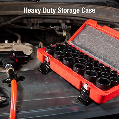 Sunex 2645, 1/2 Inch Drive Impact Socket Set, 26-Piece, Metric, 10mm-36mm, Cr-Mo Alloy Steel, Radius Corner Design, Heavy Duty Storage Case by Sunex Tools (Image #4)
