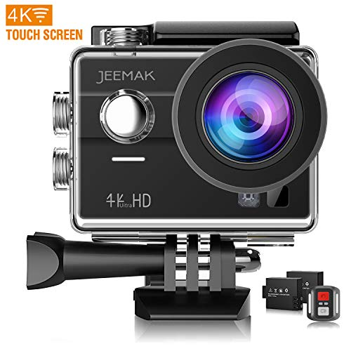 JEEMAK 4K Touch Screen Action Camera 16MP Waterproof Sports Cam 170° Ultra Wide Angle Len with SONY Sensor WiFi Remote Control 2 Pcs Rechargeable Batteries and Accessories Kits JEEMAK