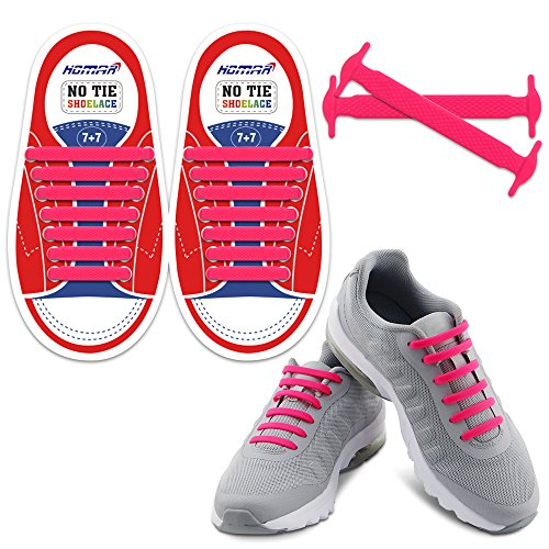 HOMAR Tie Shoelaces in 13 Colors for kids - Best in Sports Fan Shoelaces - Elastic Shoe Laces Turn Your Shoes into Slip-on Perfect for Sneaker Boots Oxford Running Shoes - Pink (Brand Pink Shoes)