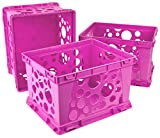 Storex Large Storage and Transport File Crate, 17.25 x 14.25 x 10.5 Inches, Pink, Case of 3 (61557U03C)