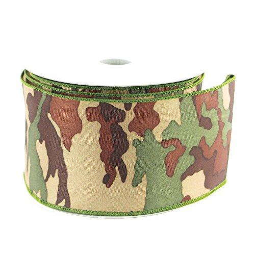 Camouflage Green Ribbon Wired Edge, 10-yard,
