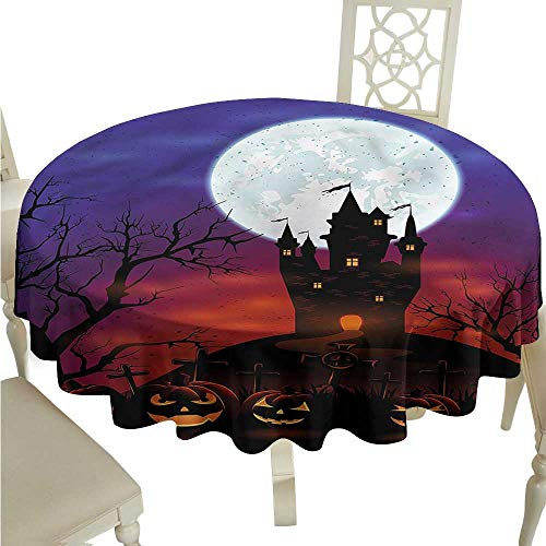 (ScottDecor Dinning Tabletop Decoration Halloween,Haunted Castle Picnic Cloth Round Tablecloth D)