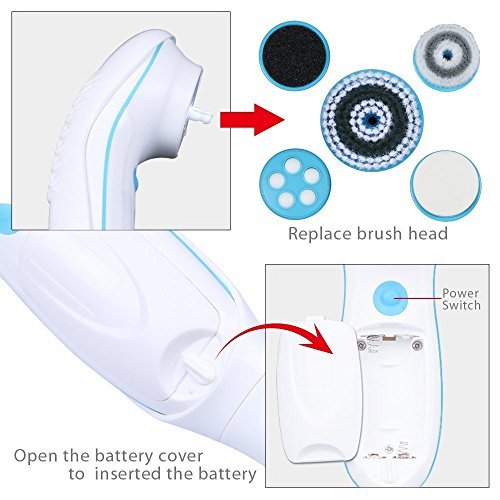 DBPOWER 6 In 1 Waterproof Electric Facial And Body Cleansing Brush With Detachable Handle Blue